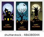 three halloween banners with... | Shutterstock . vector #486380044
