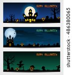 three halloween banners with... | Shutterstock . vector #486380065