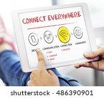 internet multimedia technology... | Shutterstock . vector #486390901