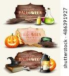 set of halloween headers and... | Shutterstock .eps vector #486391927