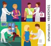 hospital doctor  bandaging hand ... | Shutterstock .eps vector #486392431