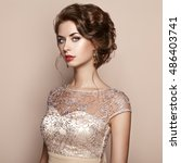 fashion portrait of beautiful... | Shutterstock . vector #486403741
