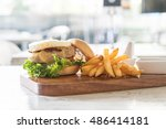 cheese pork hamburger with... | Shutterstock . vector #486414181