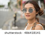 close up young pretty hipster... | Shutterstock . vector #486418141