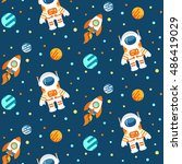 seamless cute space pattern... | Shutterstock . vector #486419029