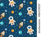 seamless cute space pattern... | Shutterstock . vector #486419029