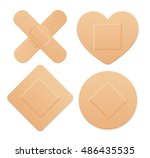 first aid band plaster strip... | Shutterstock .eps vector #486435535