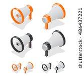 megaphone set loudspeaker... | Shutterstock .eps vector #486437221