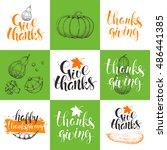 set thanksgiving day cards.... | Shutterstock .eps vector #486441385