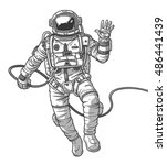 vector illustration cosmonaut  | Shutterstock .eps vector #486441439