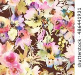 seamless pattern with flowers... | Shutterstock . vector #486441931