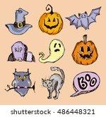 halloween hand drawn characters ... | Shutterstock .eps vector #486448321