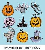 halloween hand drawn characters ... | Shutterstock .eps vector #486448399