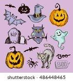 halloween hand drawn characters ... | Shutterstock .eps vector #486448465