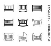 baby bed vector icons. simple...