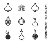 onion vector icons. simple... | Shutterstock .eps vector #486450124