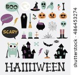 happy halloween icons set | Shutterstock .eps vector #486453274