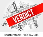 verdict word cloud concept | Shutterstock . vector #486467281