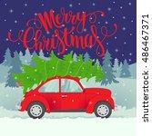 Vector Christmas Card. Merry...