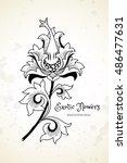 fantastic exotic flowers in... | Shutterstock .eps vector #486477631