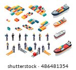 set of sea port warehouse icons.... | Shutterstock .eps vector #486481354