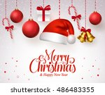 merry christmas title in red... | Shutterstock .eps vector #486483355
