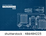 technical blue background with... | Shutterstock .eps vector #486484225