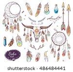 boho style set   ethnic bull... | Shutterstock .eps vector #486484441
