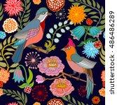 japanese garden. seamless... | Shutterstock .eps vector #486486289