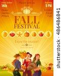 autumn harvest festival... | Shutterstock .eps vector #486486841