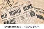 old newspaper vintage design.... | Shutterstock .eps vector #486491974