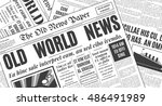 old white newspaper vintage... | Shutterstock .eps vector #486491989