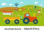 eco farm conceptual . flat... | Shutterstock . vector #486495961