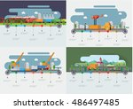 transportation and delivery... | Shutterstock .eps vector #486497485