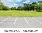 empty parking lot against green ... | Shutterstock . vector #486500839