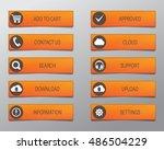 orange web buttons  high... | Shutterstock .eps vector #486504229