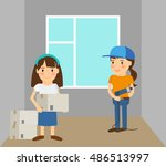 woman making repairs in her... | Shutterstock .eps vector #486513997