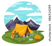 camping cartoon. tourist tent... | Shutterstock . vector #486514399