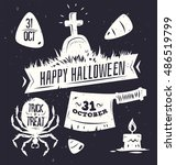 halloween illustration. vector... | Shutterstock .eps vector #486519799
