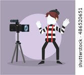 pantomime stylish infront camera | Shutterstock .eps vector #486520651