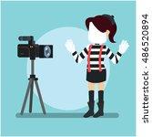 pantomime girl stylish infront... | Shutterstock .eps vector #486520894