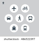transport icons. walk man  bike ... | Shutterstock .eps vector #486522397