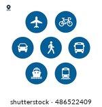 transport icons. walk man  bike ... | Shutterstock .eps vector #486522409