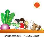 the harvest of red turnips. | Shutterstock .eps vector #486522805