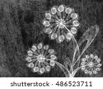 floral style textured line... | Shutterstock . vector #486523711