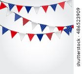 party background with flags ... | Shutterstock . vector #486523909