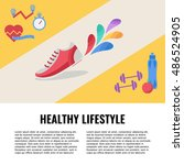 vector healthy lifestyle icons... | Shutterstock .eps vector #486524905