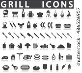 grill or barbecue icons | Shutterstock .eps vector #486526957