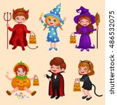happy halloween. set of cute... | Shutterstock .eps vector #486532075