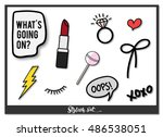 fashion patch  pin badges set... | Shutterstock .eps vector #486538051